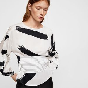 NWT! MANGO Contrast print blouse